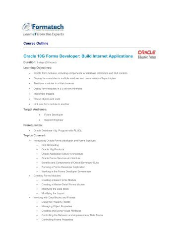 Oracle Forms Developer: Build Internet Applications - Formatech