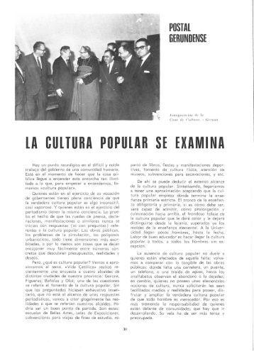 LA CULTURA POPULAR SE EXAMINA - Raco