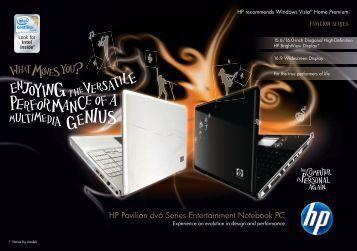 HP Pavilion dv6 Series Entertainment Notebook PC - Hewlett Packard