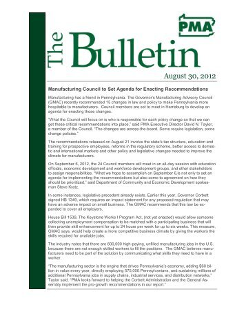 August 30, 2012 - Pennsylvania Manufacturers' Association