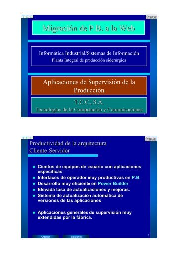 Aplicaciones de Supervisión de la Producción - Sybase