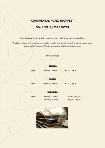 CONTINENTAL HOTEL BUDAPEST SPA & WELLNESS CENTER