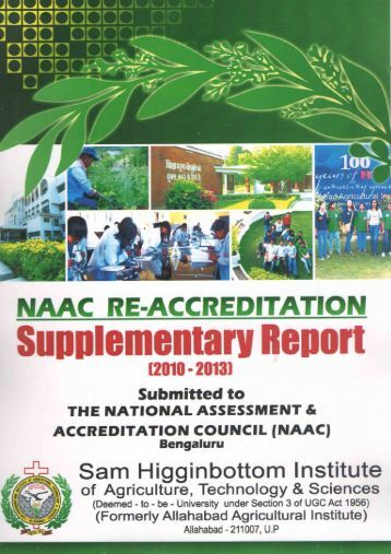 NAAC Supplementary Report 2010-13 - Shiats.edu.in