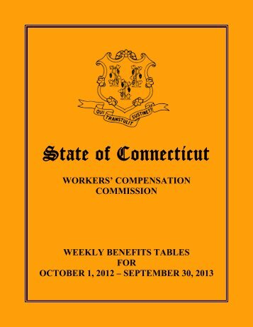 Weekly Benefits Tables for October 1, 2012 - State of Connecticut ...