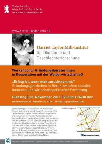Flyer - Harriet Taylor Mill-Institut