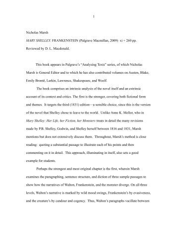 frankenstein a critique of education Women in frankenstein 4 pages 1006 words july 2015 saved essays save your essays here so you can locate them quickly topics in this paper.