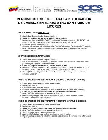 requisitos exigidos para la notificación de cambios en el registro ...