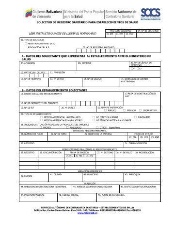 leer instructivo antes de llenar el formulario - Servicio Autónomo de ...