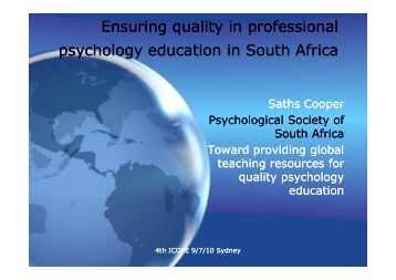 Ensuring quality in professional psychology education ... - icope 2010
