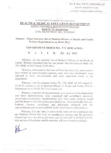 Final Seniority List of Medical Officer 2013 - Department of Health ...