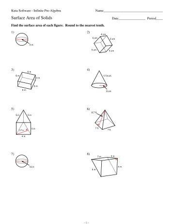 Area and volume worksheets kuta