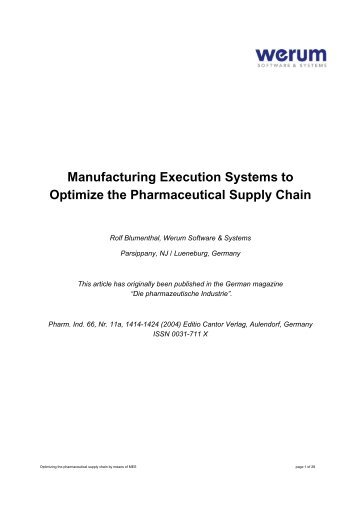 Manufacturing Execution Systems to Optimize the Pharmaceutical ...
