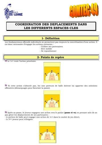 Coordination des déplacements dans les différents espaces clés