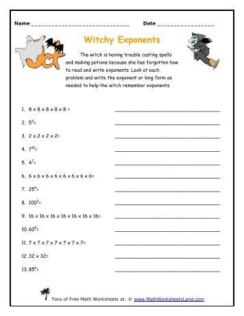 Exponent worksheet pdf