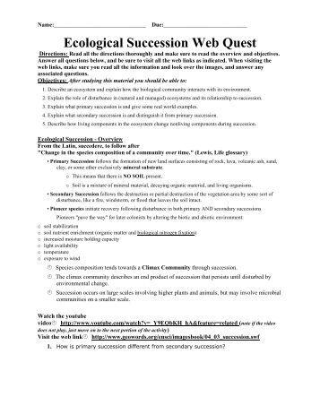 Ecological succession worksheet high school