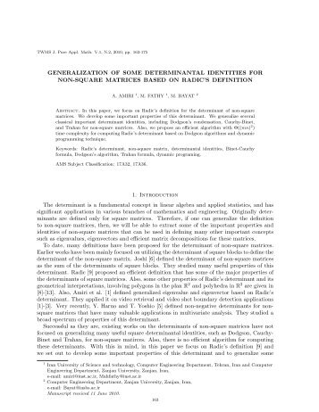 GENERALIZATION OF SOME DETERMINANTAL IDENTITIES FOR ...