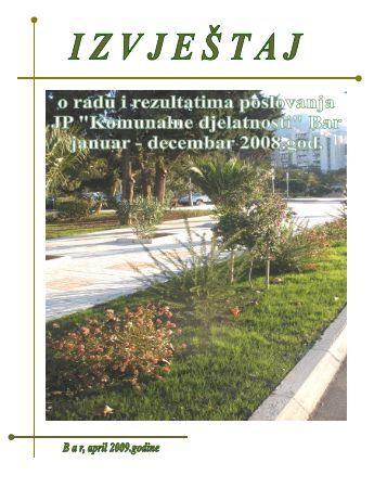 """Izvještaj o radu i rezultatima poslovanja JP """"Komunalne ... - Bar"""