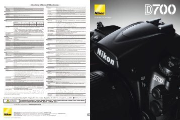 Nikon Digital SLR Camera D700 Specifications - Wex Photographic