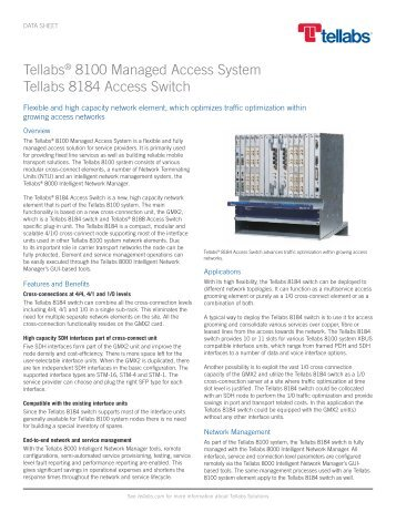 Tellabs 8100 Managed Access System: Tellabs 8184 Access Switch