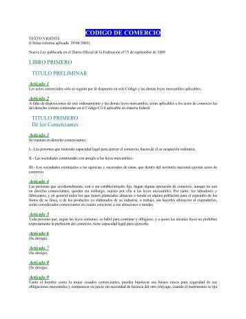 CODIGO DE COMERCIO - PMI Comercio Internacional