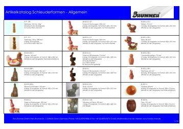 Artikelkatalog Schleuderformen - Allgemein - Hans Brunner GmbH