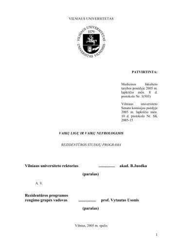 Vaikų ligos ir vaikų nefrologija - VU Medicinos fakultetas - Vilniaus ...