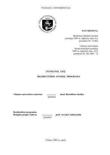 Infekcinės ligos - VU Medicinos fakultetas - Vilniaus universitetas