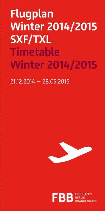 Flugplan Winter 2014/2015 SXF/TXL - Update