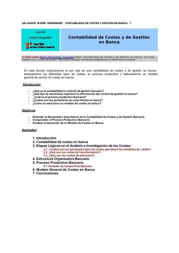Contabilidad de Costes y de Gestión en Banca - 5Campus