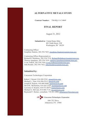 alternative metals study final report - The United States Mint