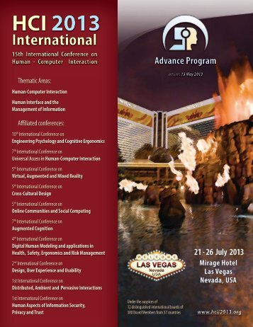 Advanced Program - HCI International 2013