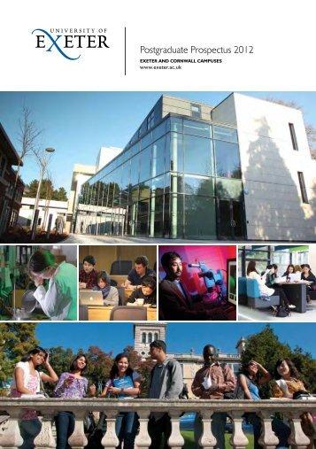 Postgraduate Prospectus 2012 University of E xeter