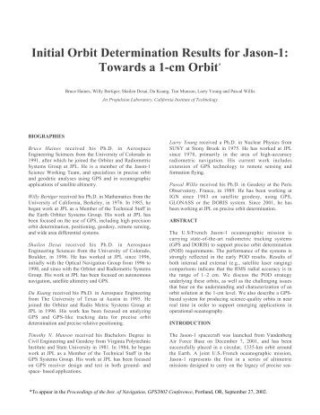 Initial Orbit Determination Results for Jason-1: Towards a 1 ... - gdgps