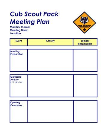 Pack Meeting Planning Worksheet Pictures To Pin On