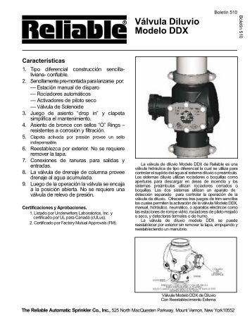 Válvula Diluvio Modelo DDX - Reliable Automatic Sprinkler Co.