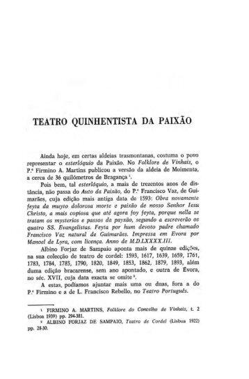 TEATRO QUINHENTISTA DA PAIXÃO