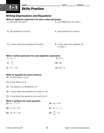 Glencoe algebra 2 workbook answer key chapter 1