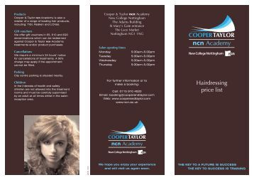 Hairdressing price list - New College Nottingham