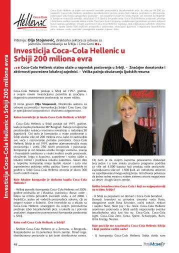 investicija coca-cola hellenic u Srbiji 200 miliona evra - ProMoney