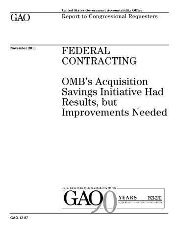 GAO-12-57 Federal Contracting - US Government Accountability Office
