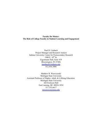 Faculty Do Matter: The Role of College Faculty in Student ... - NSSE