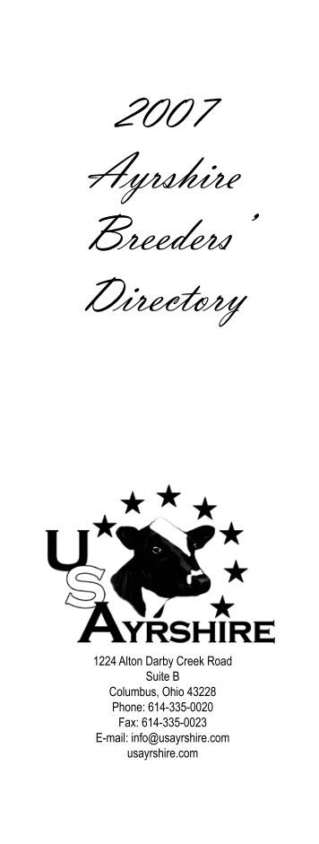 2007 Ayrshire Breeders' Directory - U.S. Ayrshire Breeders Association