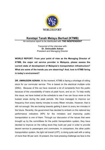 Keretapi Tanah Melayu Berhad (KTMB) - World Report