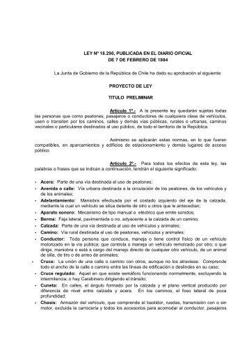 LEY DE TRANSITO 18.290 - Municipalidad de Punta Arenas