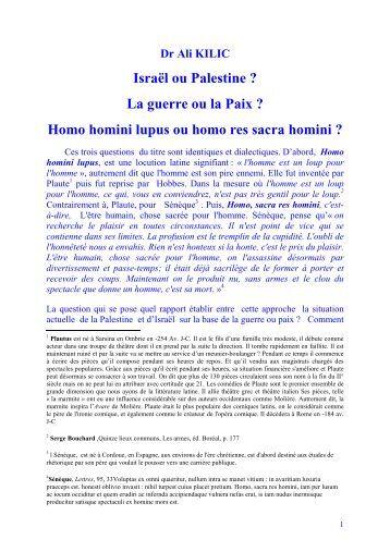 Homo homini lupus ou homo res sacra homini - Pen-Kurd