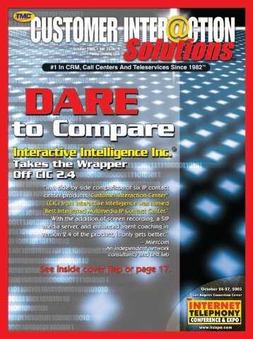 Customer Interaction Magazine October 2005 - TMC's Digital ...