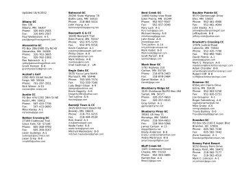 Updated 10/4/2012 Albany GC Box 338 Albany, MN 56307 Phone ...