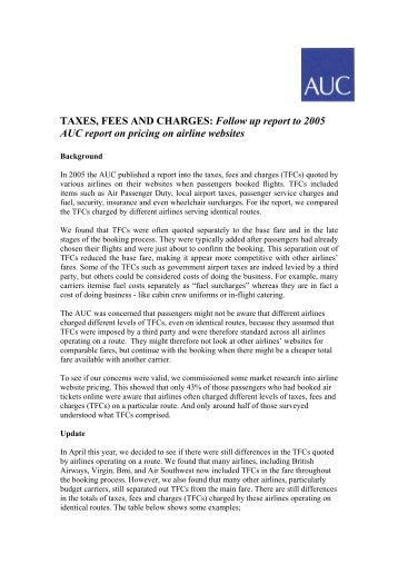 TAXES, FEES AND CHARGES: Follow up report to - Air Transport ...