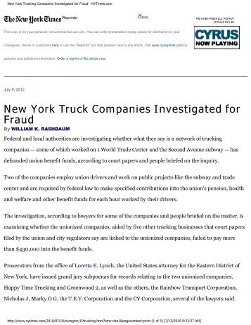 New York Trucking Companies Investigated for Fraud - NYTimes.com