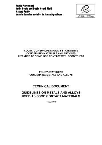 Guidelines on metals and alloys used as food contact materials ...